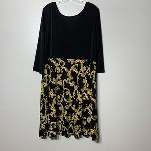 Bella Flore Gold & Black 3/4 Sleeve Dress - 2X